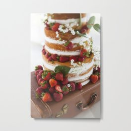 Strawberries & Cake Metal Print