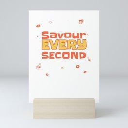 Savour Every Second Red yellow Pattern Mini Art Print