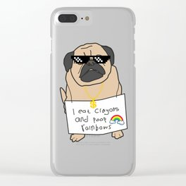 Mr Pug: i eat crayons and poop rainbows Clear iPhone Case
