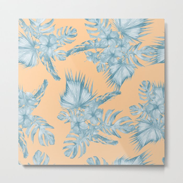 Ocean Blue Palm Leaves on Coral Apricot Metal Print