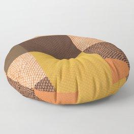 Fall Mustard Orange Golden Brown Checkered Gingham Patchwork Color Floor Pillow