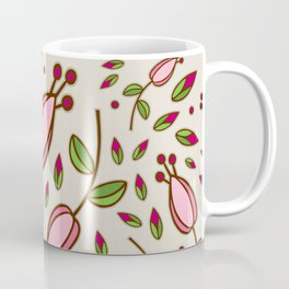 Doodle Floral Pattern Pink Coffee Mug