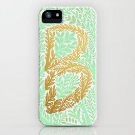 Botanical Metallic Monogram - Letter B iPhone Case