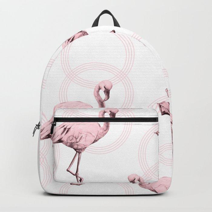 Mod Flamingos on Flamingo Pink Infinity Link Backpack