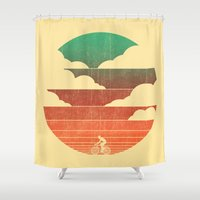 cycling Shower Curtains featuring Go West (cycling edition) by Picomodi