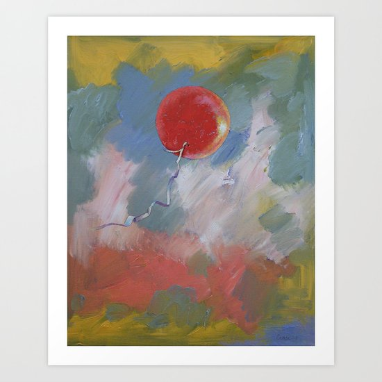 Goodbye Red Balloon Art Print