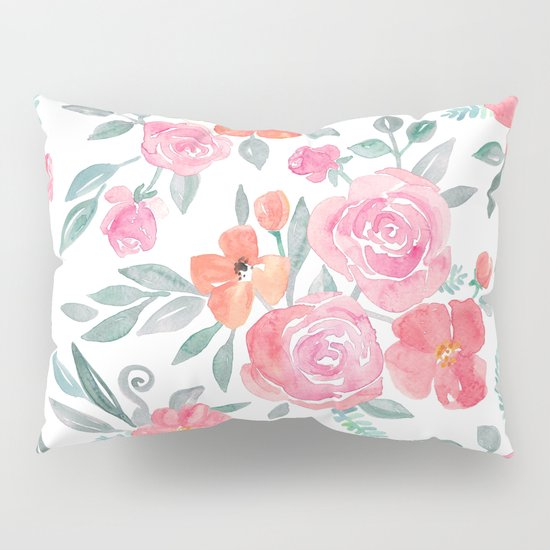Amelia Floral in Pink and Peach Watercolor Pillow Sham