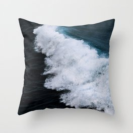 Powerful breaking wave in the Atlantic Ocean - Landscape Photography Throw Pillow