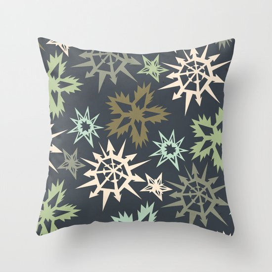 unlikely snowflakes Throw Pillow