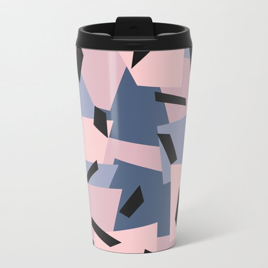 Patches Abstract Pattern Black, Blue, Pink, Gray Metal Travel Mug