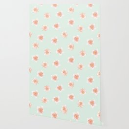 Pale Pink Cherry Blossoms On Pastel Robin's Egg Blue Continuos Wallpaper