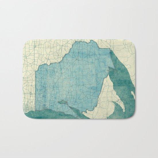 Wisconsin State Map Blue Vintage Bath Mat
