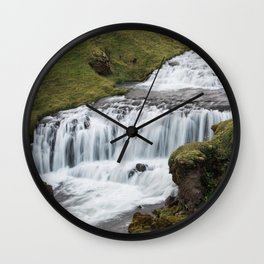 Waterfall in Iceland - landscape photography Wall Clock