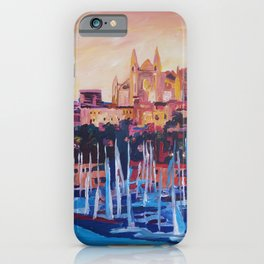 Spain Balearic Island Palma de Majorca with Harbour and Cathedral iPhone Case