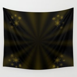golden stars on dark background Wall Tapestry