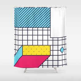 Festive Background in Neo Memphis Style Colorful Decorative pattern Shower Curtain