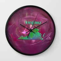 virginia Wall Clocks featuring Virginia Map by Roger Wedegis