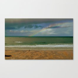 Rainbow at the seashore Canvas Print