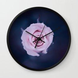 Pink rose in deep blue  Wall Clock