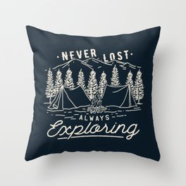 Never Lost Always Exploring (Cream) Throw Pillow