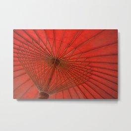 Big Asia Umbrella Red Colors Metal Print