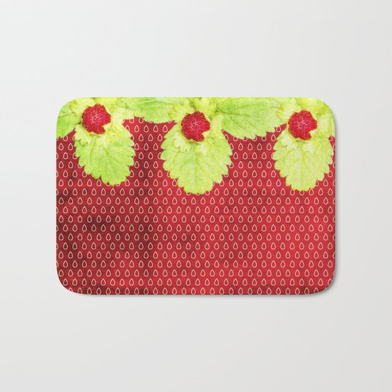 Strawberry LOVE - Strawberries pattern and Illustration Bath Mat
