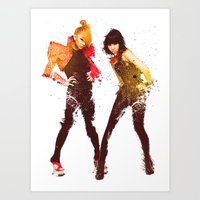 2ne1 Art Prints featuring 2NE1 CL & Minzy by Margot Park