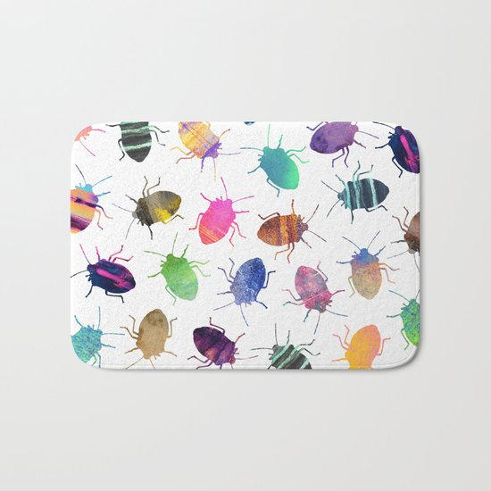 Pretty Bugs Pattern Bath Mat