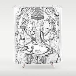 Ganesha Lineart Shower Curtain