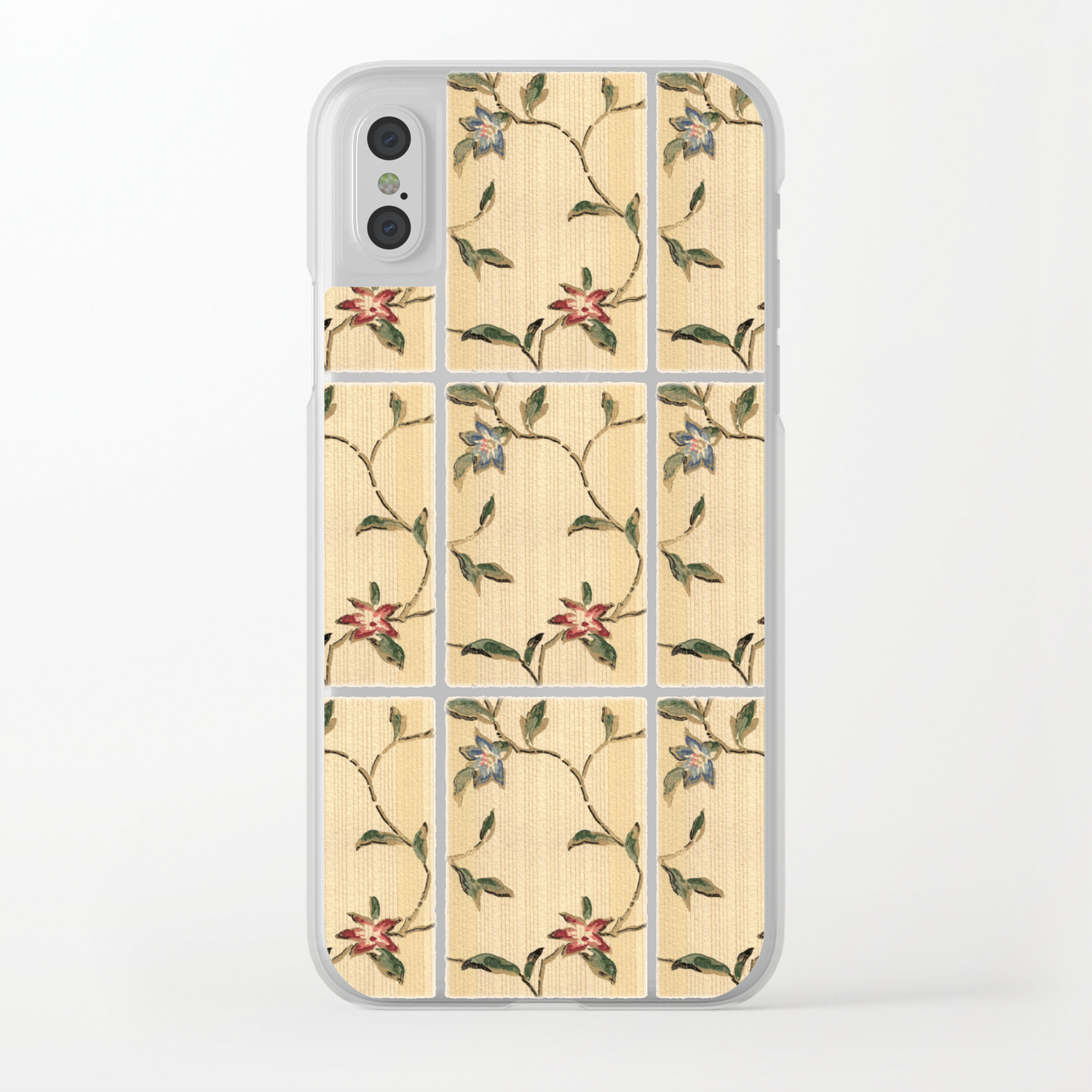 Vintage Floral Wallpaper Design Clear Iphone Case By Kmcdesigns