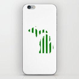 Green and White Michigan iPhone Skin