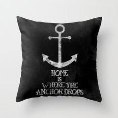 Where The Anchor Drops (Black) Throw Pillow