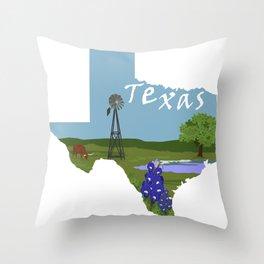 Texas: Blue Bonnet Throw Pillow