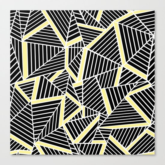 Ab Lines With Yellow Canvas Print