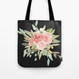 Loose Watercolor Rose Bouquet Dark Background Tote Bag