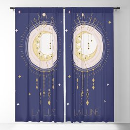 The Moon and stars - magical tarot illustration no6 Blackout Curtain