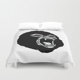 Angry gorilla head. Duvet Cover