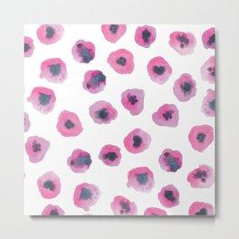 Printed Poppies - Fuschia Metal Print