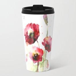 Watercolor flowers of poppy Travel Mug
