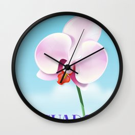 Ecuador Orchid travel poster print, Wall Clock