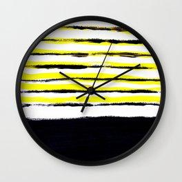 Striped black yellow Wall Clock