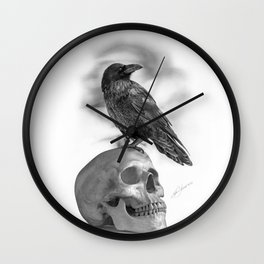 The Raven and The Skull - By Julio Lucas Wall Clock