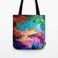 jazzberry Tote Bags featuring WELCOME TO UTOPIA Bold Rainbow Multicolor Abstract Painting Forest Nature Whimsical Fantasy Fine Art by EbiEmporium