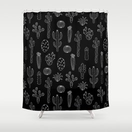 Cactus Silhouette White And Black Shower Curtain