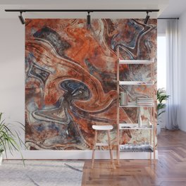 Orange marble watercolor Wall Mural