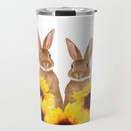 Two Rabbits Sunflower field Travel Mug