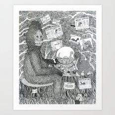 Black and White Sasquatch Art Print