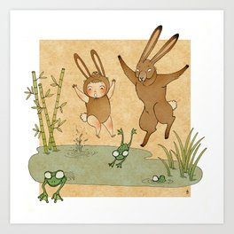 The hare and the frogs Art Print