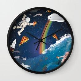 Intergalactic Undersea Pizza Party Wall Clock