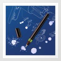 blueprint Art Prints featuring blueprint by anil yanik